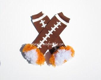 Orange and White Chiffon Ruffled Football Leg Warmers, Vols Baby, UT Baby Girl, UT Vols, Tennessee Baby, Baby Girl Ruffled Legwarmers