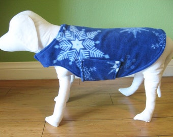 Fleece Dog Coat, Small, Blue & White Snowflake Print Fleece with Royal Blue Fleece Lining