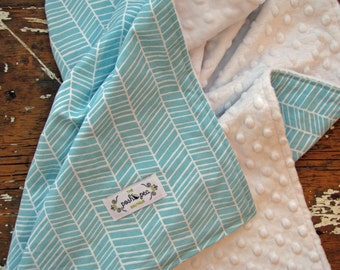 Navy OR Aqua Baby Blanket - Herringbone - Gender Neutral Baby Boy or Girl - Choose Chenille or Minky