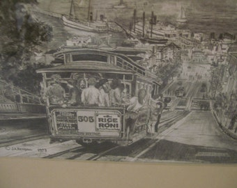 """San Francisco Trolley, JA Kendall, """"Looking Down Hyde Street"""" Sephia Pen & Ink Framed Charcoal Drawing of Cable Trolley Car San Francisco CA"""