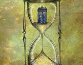 Doctor Who A4 (approx 8x12) print - Time Flies - Dr Who Tardis Hourglass inspired photo print art poster- FREE WORLDWIDE SHIPPING