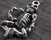 6 Silver Skeleton Pendants 42mm Antiqued Silver