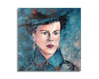 "Original portrait painting - Nicole - Original contemporary modern expressionist portrait painting - turquoise, red, beige - 15,7"" x 15,7"""