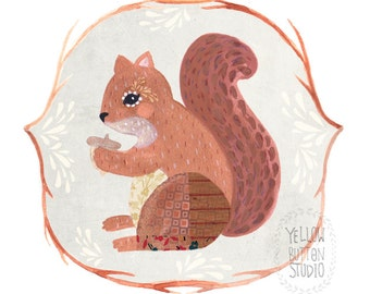 Red Squirrel 8.5 x 11 Print Painting