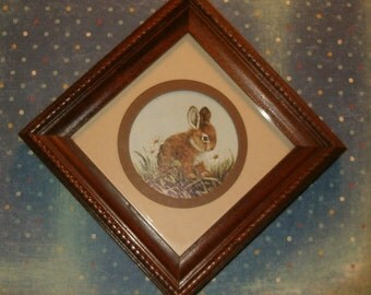 "Vintage 1980's Bunny Print & Matted Picture, Beautifully Framed in Wood, 6 3/8""sq. Perfect for Easter Gift"