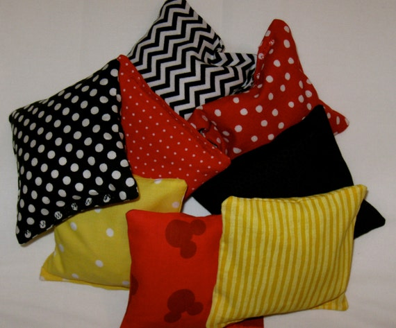 Minnie/Mickey Mouse Bean Bags - Set of 4 - Party Game - Party Favor - Your Choice of 8 Prints - Ready to Ship - Ladybug Party -