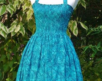 Teal sundress, party dress, summer dress-Vintage inspired  Retro Rockabilly swing
