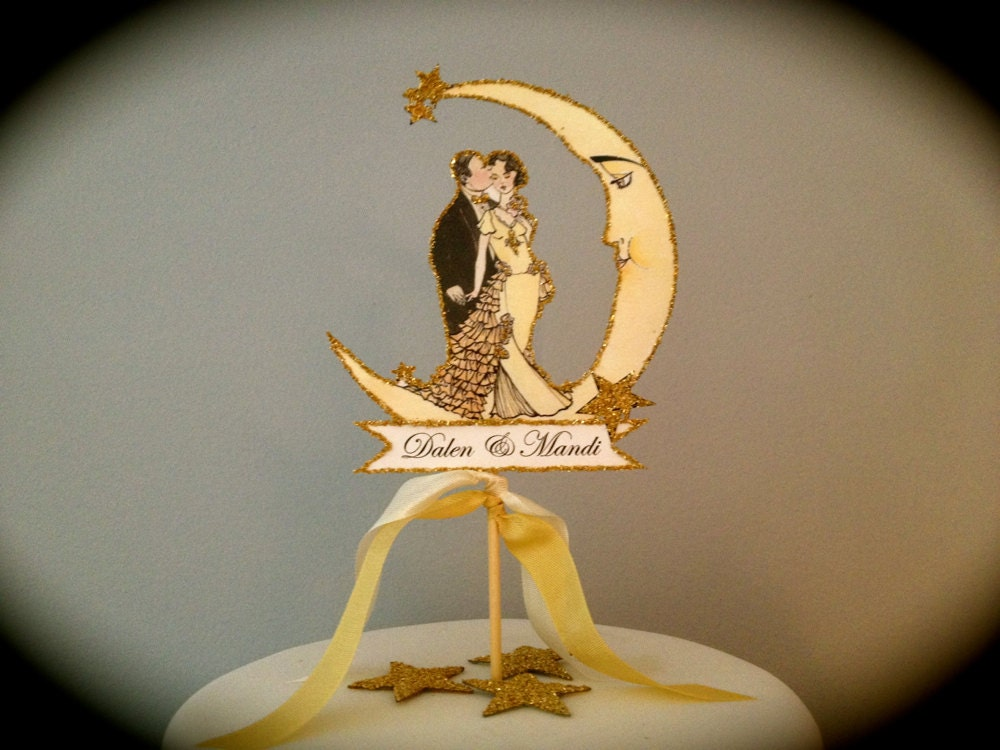 Art Deco Moon Cake Topper : Wedding Cake Topper Moon Small Size Art by JolieEnRoseVintage