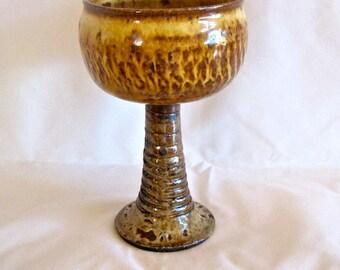 Ceramic goblet, wine goblet, chalice, golden textured
