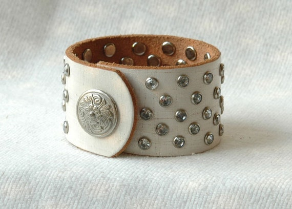 Leather Cuff Bracelet - Elegant Women's Winter White with over 50 Handset Sparkling Rivets  - OOAK
