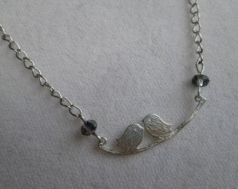 Silvertone necklace, love birds necklace, swarovski crystal necklace, fashion necklace