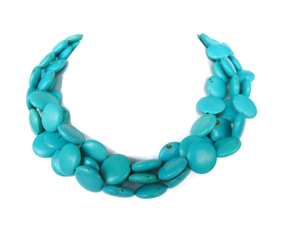 Fall Jewelry -Chunky Turquoise Statement Necklace - Turquoise Coin Necklace