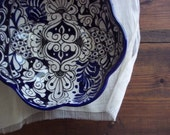 blue and white scalloped spaniards bowl