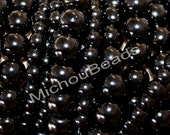 """BULK DISCOUNT 32"""" Strand - 10mm BLACK Round Pearl Glass Beads - Opaque Smooth Pearlised Crystal Beads - USa Wholesale - Instant Ship - 002"""
