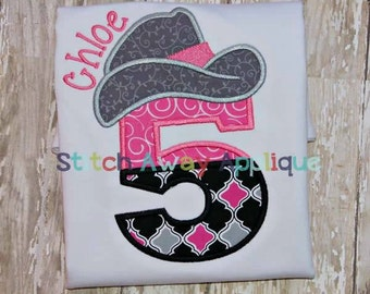 Cowboy Hat Numbers - Appliqued and Personalized - Choice a Number 1 - 6