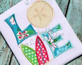 Love with Sand Dollar Tshirt- Appliqued and Personalized