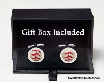 8 Pairs Game Used Baseball Cufflinks with gift boxes for GROOMSMEN