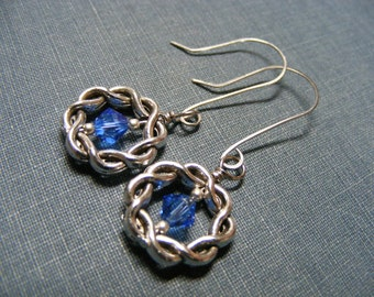 Celtic Blue Earrings:  Sweet Celtic Knot Earrings with Stainless Steel Wires and Sparkling Sapphire Swarovski Crystals