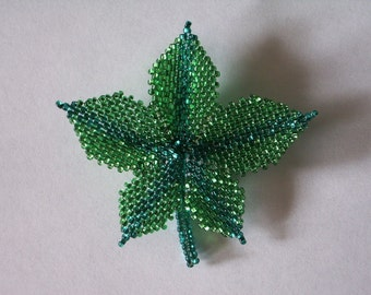 Spring Green Beaded Leaf Pin, sparkle and shine as you show off your love for nature