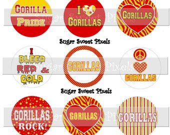 INSTANT DOWNLOAD Red Gold Gorillas School Mascot  1 inch Circle Bottlecap Images 4x6 sheet