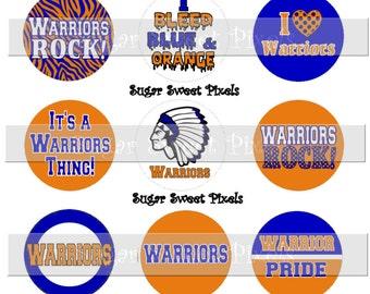 INSTANT DOWNLOAD  Warriors Orange Blue School Mascot 1 inch circle Bottle cap Images