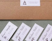 Chinoiserie Return Address Labels Select Dog, Palm Tree,Pagoda,Elephant or Floral, set of 50