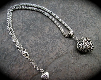 "Silver filigree heart necklace 18""-20"" with adjustable foxtail chain"