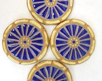 Mosaic Tile Coasters WAGON WHEEL Handmade Ceramic Stoneware Art Cobalt Blue Coaster Set of 4