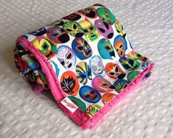 Turquoise, or, Pink, Lucha, Wrestler, Masks, Minky Blanket, Girl, or, Boy