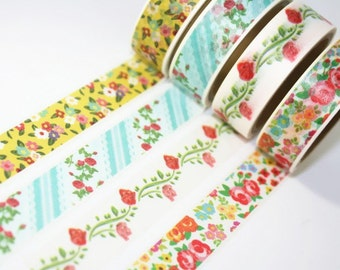Washi Masking Tape Set - Secret Garden - Ver. 1- 4 rolls  - 5.5 Yards (each roll)