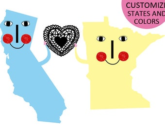 California loves Minnesota  / Map custom States that you want.
