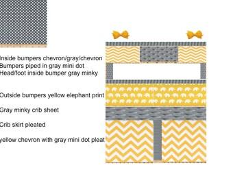 Custom Crib bedding 6 pc set yellow chevron & elephants and gray wiith polka dots