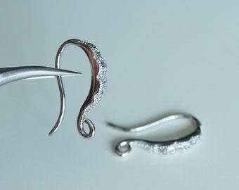 2 Pcs - Silver Plated Cubic Zirconia Hook Earring Findings, Wedding Jewelry, Bridal, Earrings, Earwires - H333S