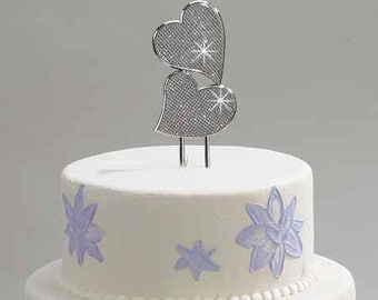 Wedding Cake Topper Custom Engraved Personalized Sparkling Double Hearts Cake Topper - Hand Engraved