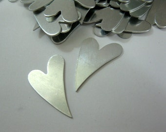 """6  Aluminum Funky Hearts for Stamping, Hammering, 1  1/4"""" 20 gauge, Ready to Ship!"""