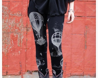 Hot Air Balloon Leggings, printed balloon tights, balloon art, clothing, womens pants, yoga wear, athletic wear