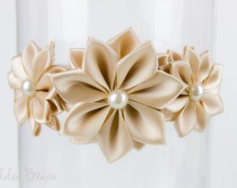 Champagne Flower Girl Headband - Stella Champagne Flowers Handmade Headband - Baby to Adult Headband