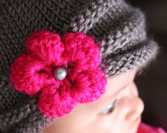 Newborn to Toddler Girl's Knitted Hat--Gray with Hot Pink Flower