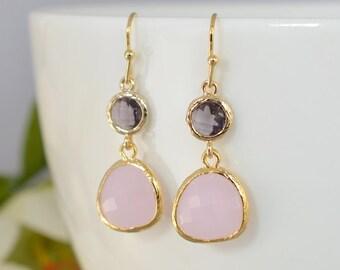 30% OFF, Amethyst earrings,Rose Quarts earrings,Gold earrings,Wedding earrings,Bridal jewelry,Bridesmaid gift,Clip earrings,Crystal earrings