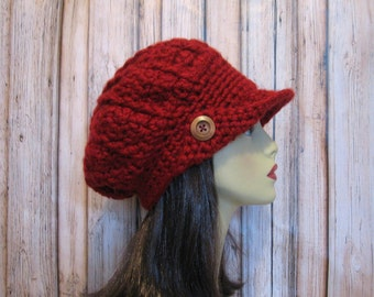 Maroon Newsboy Hat  Dark Red  Knit News boy Maroon Crochet Newsboy Red Hat with Visor Slouch Newsboy Adult  Red Crochet Hat Red crochet cap