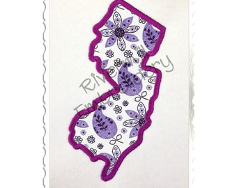 State of New Jersey Applique Machine Embroidery Design - 4 Sizes