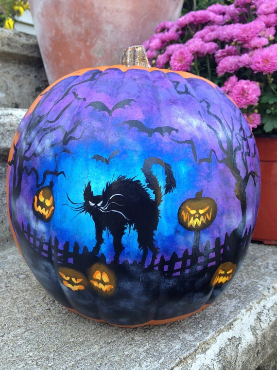 Items Similar To Painted Plastic Pumpkin With Black Cat