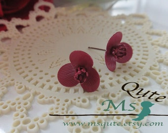 Orchid stud earrings - deep red