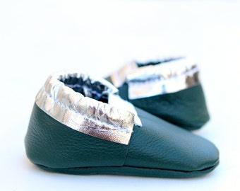 Ready to Ship** Green and Silver Leather Baby Moccasins