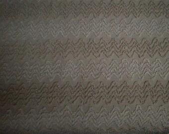 "Cabin Craft Latte BROWN and White Needletuft Chenille ZIG ZAG Design Vintage Chenille Bedspread Fabric - 24"" X 24"""