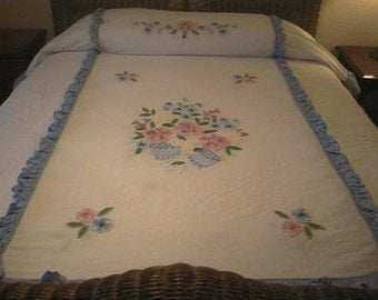 SALE - Cabin Craft Blue and White Seersucker with Needletuft FLOWERS Vintage Chenille Bedspread - Free Shipping