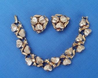 Vintage Jewelry Costume Jewelry, 1950 Bracelet and Earrings, Rhinestones, 1950s Costume Jewelry Set