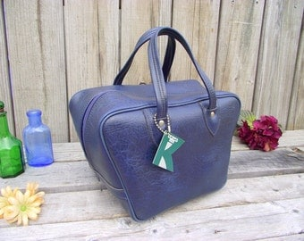 Blue Bowling Ball Bag Purse Handbag - Vintage Carryon Carry on