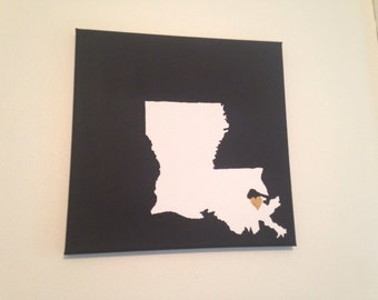 "Louisiana Love Painting - 12x12"" canvas - Customized and hand painted"