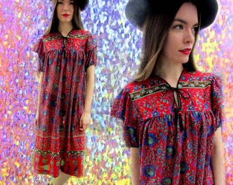 Red Paisley Print Sheer See Through Bohemian Hippie Gypsy Loose Dress